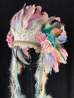 CUSTOM ORDER deluxe infant headdresses. I am now offering my favorite headdress in custom colors, this is an example of a recent custom order, yours does not have to be this exact design. Please message me for details and color choices upon ordering. This deluxe darling girls
