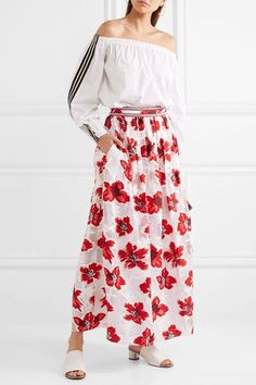 Tory Burch - Barrington Embellished Fil Coupé Chiffon Maxi Skirt - Red - US10