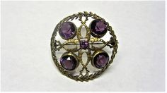 Amethyst Glass and Goldtone Brooch Vintage 1910s Round Glass Brooch Art Deco by letsreminisce on Etsy