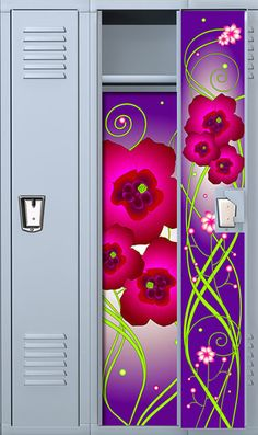 Purple Flower Locker Wallpaper Set Locker Designs, Locker Ideas, Teen Crafts, Crafts For Teens, Locker Wallpaper, Middle School, Back To School, Locker Organization, Locker Decorations