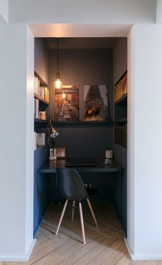 Small dark built-in workspace. Love the built-ins, lighting and frameless art on the back wall. Looking for one of a kind art photos to decorate your small working space? Visit bx3foto.etsy.com