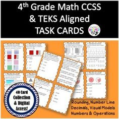 4th Grade CCSS/TEKS Aligned NUMBER OPER | 40 Cards | Task Cards | Digital Access Early Finishers Activities, 4th Grade Math, Google Classroom, Task Cards, Teaching Resources, Teaching Ideas, Numbers, Elementary Education, Digital