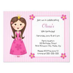 Niedliche girly Geburtstagseinladung rosa Prinzess