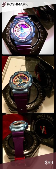 G SHOCK digital/analog WATCH Only had for a month. It is purple band w pink slide in, blue around the face, gold/pink/purple face. Display text can appear either as dark figures on lightbackground vice versa. Has stopwatch and count down counter,auto light switch,alarm,hourly time signal,day/time display,world time mode,waterproof & shockproof, distance value(LAP) split time measurement, illumination mode, bacteria & odor resistant band, switch between time zones.Too much to list. Comes w…