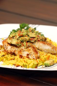 Panko Crusted Tilapia with Avocado Salsa and Vegetable Rice keviniscooking.com