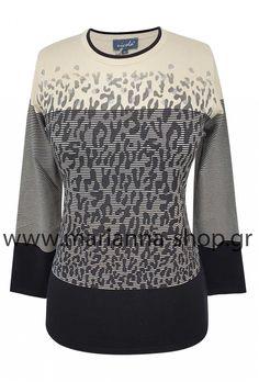 Μπλούζα ασπρόμαυρη ζακάρ.Είναι απο μαλακό βισκόζ νήμα με λαιμόκοψη και μακριά μανίκια.Ελληνική ραφη. Jumpers, Knitwear, Sweatshirts, Sweaters, Shopping, Fashion, Moda, Tricot, Fashion Styles