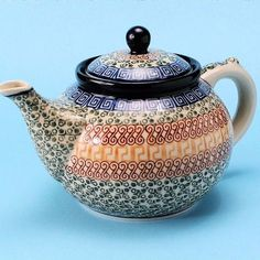 "CA060-050 Autumn Teapot (9.75 x 6 x 6"" / 5 cups) Hand painted Polish Pottery is safe for use in the oven, microwave and dishwasher"