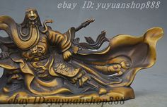 "10"" Marked China Bronze Gilt Dragon Guangong Guan Yu Yunchang Warrior God Statue"