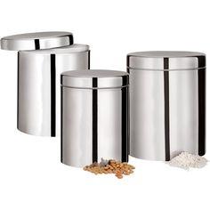 Pote de Inox para Mantimentos 3 Peças- - Shoptime.com