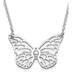 My Only One Sterling Silver Butterfly Necklace (66 CAD) ❤ liked on Polyvore featuring jewelry, necklaces, grey, chain jewelry, monarch butterfly jewelry, thick necklace, thick chain necklace y grey necklace