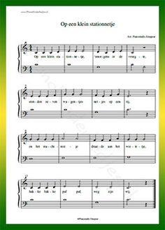 Op een klein stationnetje - Gratis bladmuziek van kinderliedjes in eenvoudige zetting voor piano. Piano leren spelen met bekende liedjes.