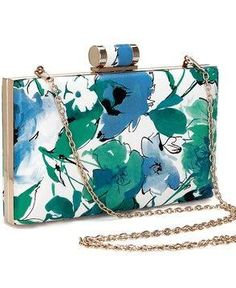 Floral Wash Box Clutch Bag in Blue and Green