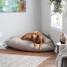 Hidden Valley Corner Bolster Dog Bed - Extra Large Khaki with Beige Fleece
