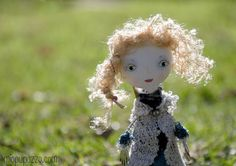 Art Doll Brooch Flower Boho Chic Girl mixed media by miopupazzo, $27.00