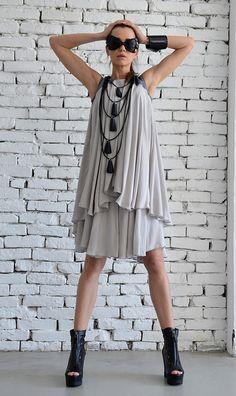 Extravagant Loose Grey Dress/Sexy Short Summer Dress/Long