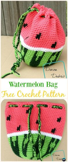 Wonderful Watermelon Bag Free Crochet Pattern -#Crochet Drawstring #Bags Free Patterns