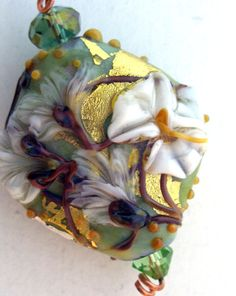 Lampwork Pendant Focal Bead - Floral on gold...