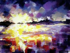 Abstract landscape art painting