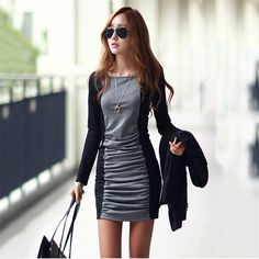 e29a8b9f6ecbb 2016 The New Han Edition Dress Autumn and Winter Round Neck Long Sleeve  Splice Render OL Dress-in Dress Suits from Women s Clothing   Accessories  on ...