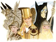 Discworld characters by paul kidby from the Right, Death, Cheery littlebottom, Moist von Lipwig, Nobby and Detritus