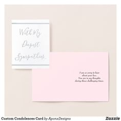Shop Custom Condolences Card created by AponxDesigns. Paper Envelopes, White Envelopes, Condolences Card, Colored Paper, Gold Foil, Place Card Holders, Ink, Silver, Prints