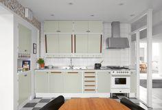 Nye retrokjøkken / New vintage 50s Style Kitchens, Elegant Kitchens, Home Kitchens, Kitchen Cupboard Doors, Kitchen Cabinets, Plywood Furniture, White Tile Backsplash, Vintage Stil, Kitchen Interior