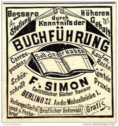 Original-Werbung/ Anzeige 1897 - BUCHFÜHRUNG / SIMON - BERLIN - ca. 45 x 45 mm