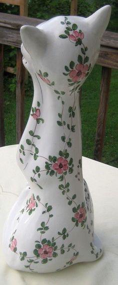 "Vintage Mid Century HP Italian Porcelain 17,5"" Cat Sculpture 225 #38-116 Rare | eBay"