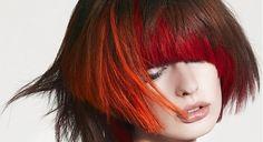 red shadows on bobcut hair