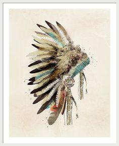 Native Headdress Framed Print featuring the painting Native Headdress by Bri B