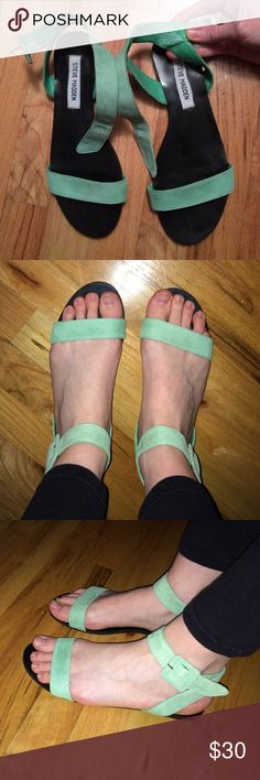 Steve Madden sandals Beautiful mint green suede Flexi sandals by Steve Madden!💚💙 very hard to come across these! Man made lining, rubber outsole. Very comfy! Lightweight! Super chic! In used condition, but completely clean...you get a very clean pair of cute sandals :). Size 7.5 but also fits if you wear size 8 like I do! Thanks for looking! Sorry, no trades and I'm set on this price! Thank you for visiting my listing😄 Steve Madden Shoes Sandals