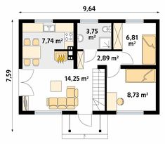 Motylek Dom letniskowy z użytkowym poddaszem. - Jesteśmy AUTOREM - DOMY w Stylu Sliders, Floor Plans, House Plans, How To Plan, Home, Projects, House Floor Plans, Haus, Home Floor Plans