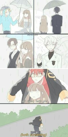 Yoosung, Jumin, Jaehee, Zen, 707, raining, umbrella, MC, funny, running, jacket, text, comic; Mystic Messenger