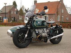 dark green bmw airhead and sidecar custom