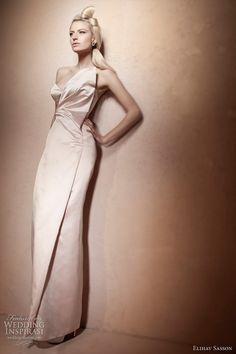 Love this elegant fitted column wedding dress with asymmetrical neckline.