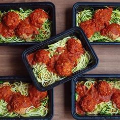 Zoodle Meal Prep Who said you can't have pasta meal prep in the summer! #Zoodles for the win!  _ Double tap for turkey meatballs more »