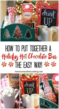 This holiday hot chocolate bar is easy to set up and perfect for your holiday parties! @InDelight  AD