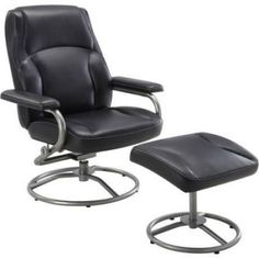 Black Recliner And Ottoman Set Glider Chair Swivel Footrest Rocker Vinyl Seat #BlackReclinerAndOttoman