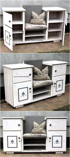 You can see another idea for creating an entryway table, this time it contains a seat. It is a creative entryway table with seat idea by Lucie's Palettenmöbel. There is enough storage space and also area to sit, which is making it look different from the usual styles available in the market.