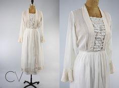 Vintage 1910 Great Gatsby Lawn Dress White Linen Cotton