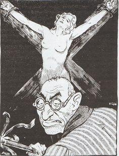"""Der Nürnberger Jude Otto Mayer ca 1930.Der Stürmer"""" vermittelte seinen radikalen Antisemitismus im Stil einer Boulevardzeitung möglichst plakativ: Außerdem prägte der ab 1925 für die Zeitung arbeitende Karikaturist Philipp Rupprecht (1900-1975) mit seinen Zeichnungen das Blatt. Unter dem Pseudonym """"Fips"""" schuf er Woche für Woche mit seinen Karikaturen den Typus des geldgierigen, meist unrasierten """"Stürmer-Juden"""" mit langer Nase.. Anti Semitic, Esquire, Germany, War, Desk, Fictional Characters, Twitter, Vintage, Poster"""