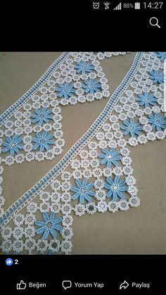 Crochet Edging Patterns, Crochet Borders, Filet Crochet, Crochet Motif, Crochet Designs, Crochet Doilies, Crochet Flowers, Crochet Lace, Crochet Crafts