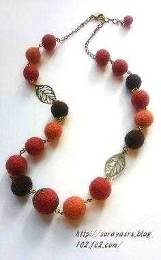 1445492847964新 Knitted Necklace, Felt Necklace, Beaded Necklace, Textile Jewelry, Fabric Jewelry, Handmade Necklaces, Handcrafted Jewelry, Felted Wool Crafts, Fabric Beads