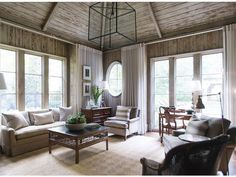 I like the wood ceiling for outside.....A Revamped Belle Meade manse - Nashville Lifestyles