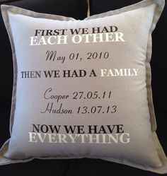 Classic special family pillow - your wedding date and children's birth dates captured on this gorgeous keepsake. Perfect anniversary gift. on Etsy, $32.71