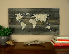 Weltkarte Wanddekoration Holz Holz Dekoration von BeauGrandMonde