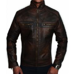Mens Biker Vintage Motorcycle Distressed Brown Cafe Racer Leather Jacket (S) Custom Leather Jackets, Leather Jackets For Sale, Stylish Jackets, Brown Leather Jacket Men, Distressed Leather Jacket, Leather Men, Black Leather, Cafe Racer Leather Jacket, Cafe Racer Jacket