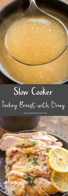 Slow Cooker Turkey Breast with Gravy - family meal idea made right in your Crock-Pot. Slow Cooker Turkey, Crock Pot Slow Cooker, Crock Pot Cooking, Slow Cooker Recipes, Crockpot Recipes, Cooking Recipes, Crock Pots, Yummy Recipes, Dinner Recipes