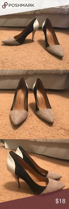 Chinese Laundry classic sexy pumps CHINESE LAUNDRY - pumps that go from work to happy hour! Gray, black and white faux suede and leather. Small scuff on one heel, otherwise in very good condition. Hardly used! Chinese Laundry Shoes Heels