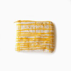 Yellow Coin purse in screenprinted natural by erinmillerarnold, $24.00